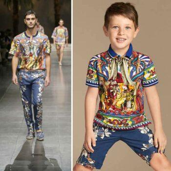 Dolce & Gabbana Boys Mini Me Carretto Sicilliano Print Polo and Blue Bird Pants