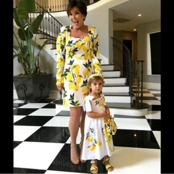 Kris Jenner & Penelope Disick - DOLCE & GABBANA Girls Mini Me Lemon Print Dress