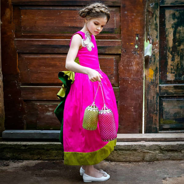 LAZY FRANCIS Girls Fuchsia Pink & Green Bow Silk Maxi Dress