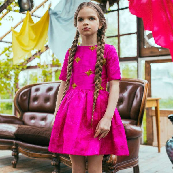 SHOP SALE - LAZY FRANCIS GIRLS FUCHSIA PINK SILK DRESS WITH EMBROIDERED FROGS