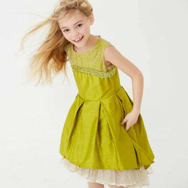 LAZY FRANCIS Girls Green Silk Couture Dress with Bells
