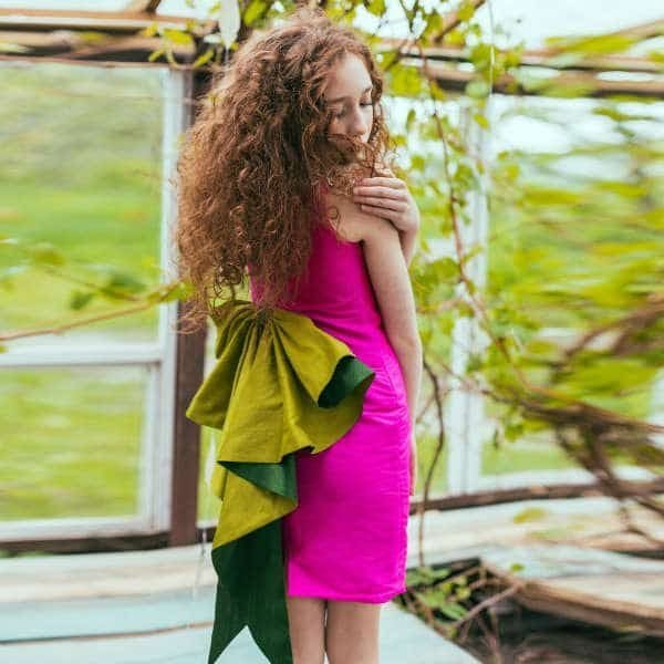 LAZY FRANCIS Silk Fuchsia Pink Dress with Bow