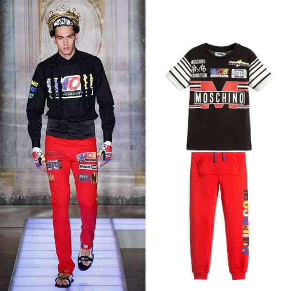 MOSCHINO KID-TEEN Boys Mini Me Black & Red Racing Team Print T-Shirt