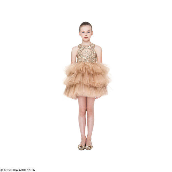 Mischka Aoki Kiss of Sunshine Gold Silk Chiffon & Tulle Dress