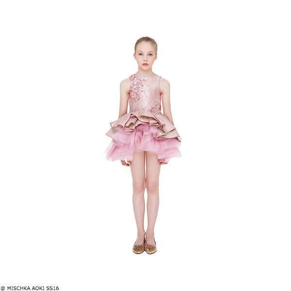 Mischka Aoki Girls Kiss of Sunshine Gold Silk Chiffon & Tulle Dress Silk Jacquard Dress with Jewels & Sequins