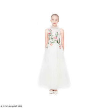 Mischka Aoki Girls Spring Morning Ivory Floral Silk Chiffon & Tulle Dress