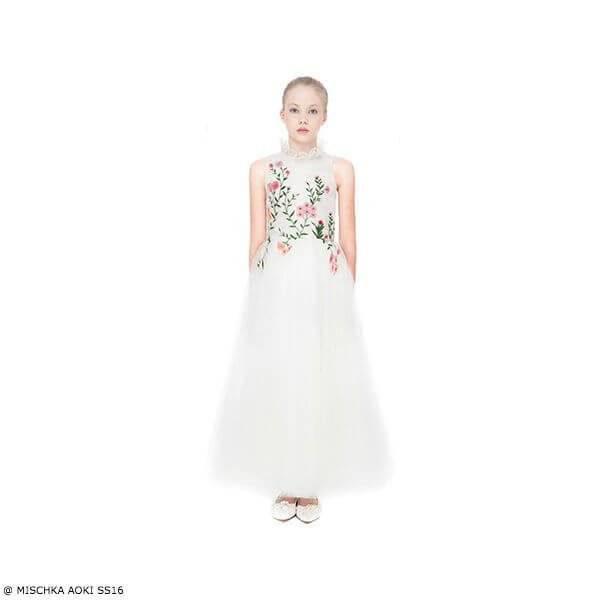 Mischka Aoki Girls Spring Morning Ivory Floral Silk Chiffon & Tulle Dress