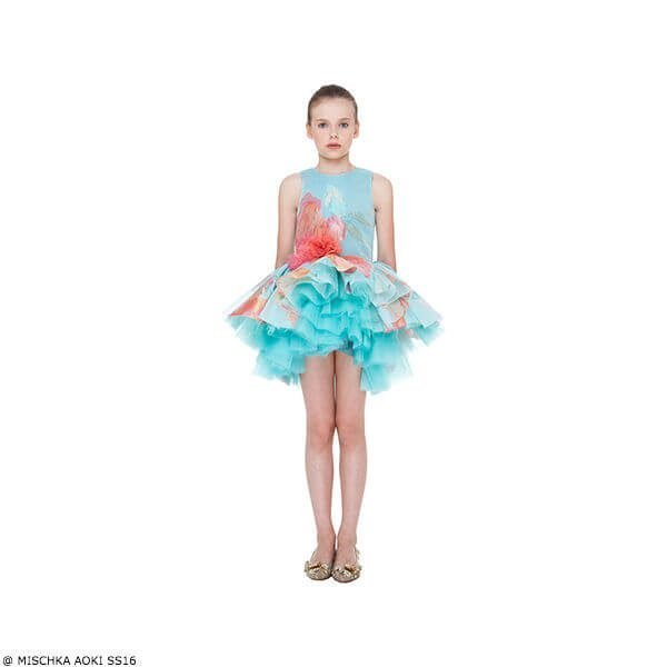 Mischka Aoki The First Flower of Spring Turquoise & Pink Chiffon Dress