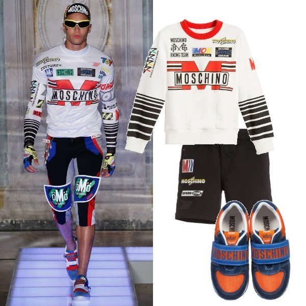 Moschino Boys Mini Me Black White Formula 1 Racing Outfit