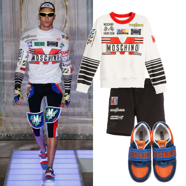 MOSCHINO BOYS MINI ME BLACK & WHITE FORMULA 1 RACING OUTFIT
