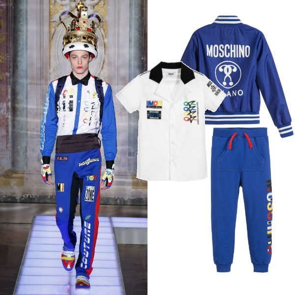 Moschino Boys Mini Me Blue & White Formula 1 Racing Outfit