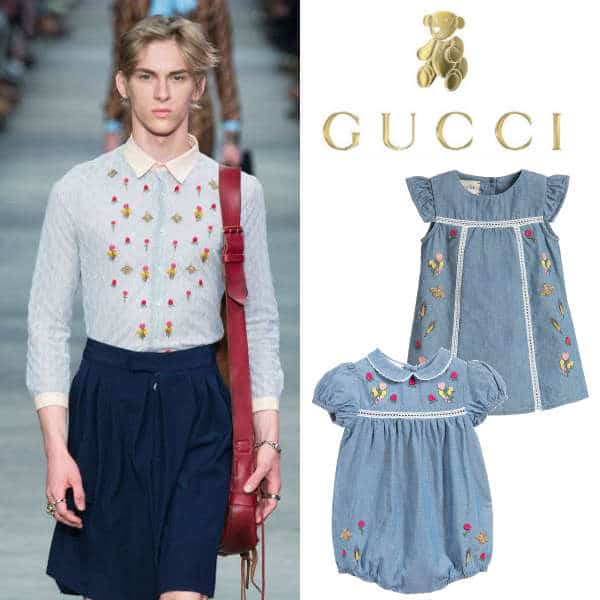 GUCCI Girls Embroidered Denim floral Trend