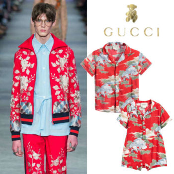 Gucci Boys Red Oriental Eagle Print Outfits
