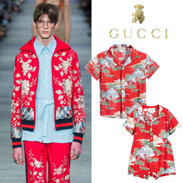 GUCCI Boys Red Oriental Eagle Print Shirt