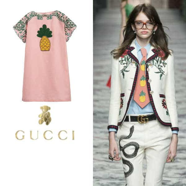 GUCCI Girls Pink Linen Pineapple Dress