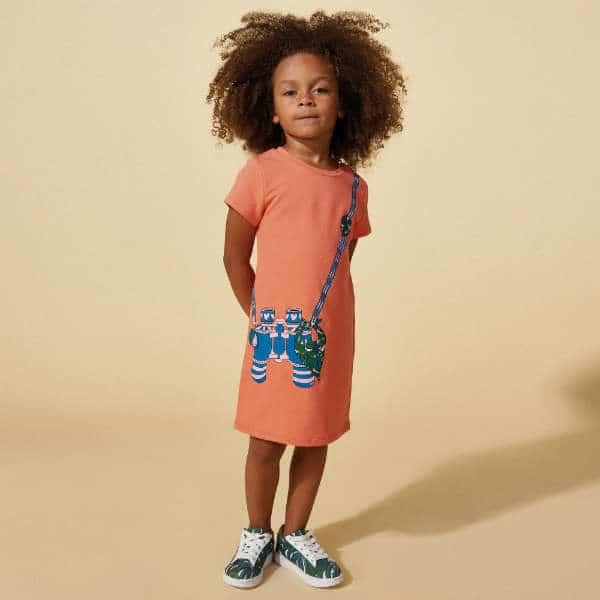LITTLE MARC JACOBS Coral Pink 'Binocular' Print Cotton Dress