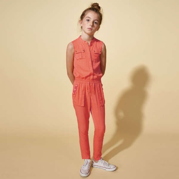 LITTLE MARC JACOBS Girls Coral Pink Viscose Jersey Jumpsuit