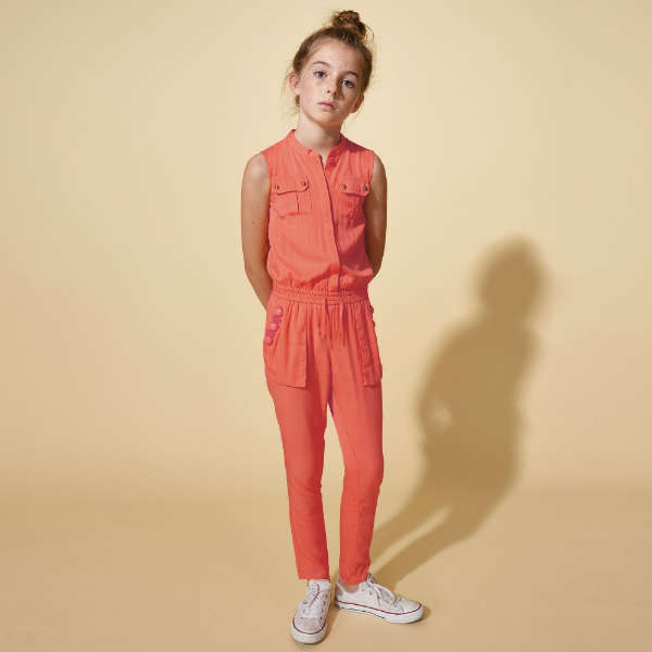 LITTLE MARC JACOBS GIRLS CORAL PINK JUMPSUIT
