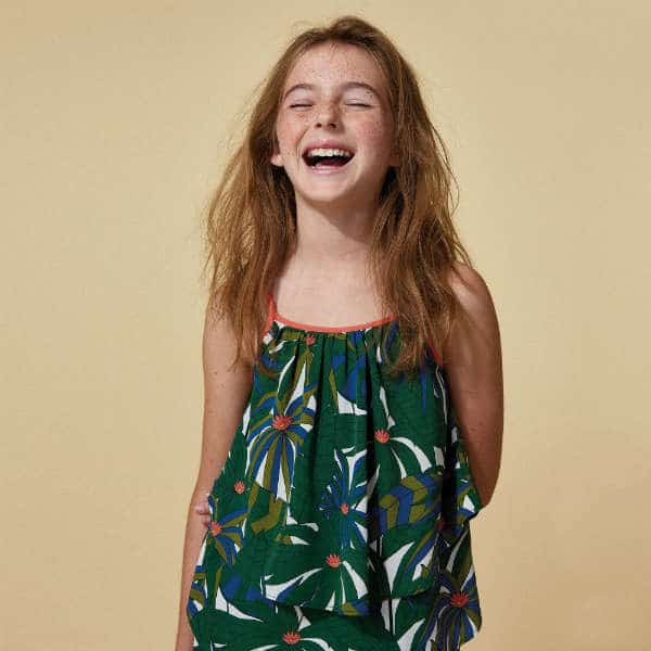 LITTLE MARC JACOBS GIRLS GREEN PALM PRINT DRESS & TOP SET