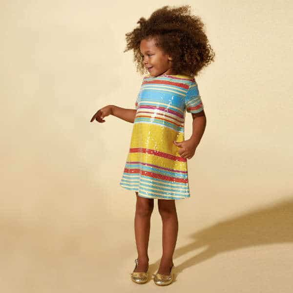 LITTLE MARC JACOBS GIRLS YELLOW, RED & BLUE STRIPED SEQUIN DRESS