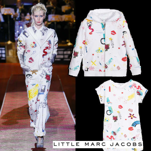 LITTLE MARC JACOBS GIRLS MINI ME WHITE COLOR PRINT HOODIE & DRESS
