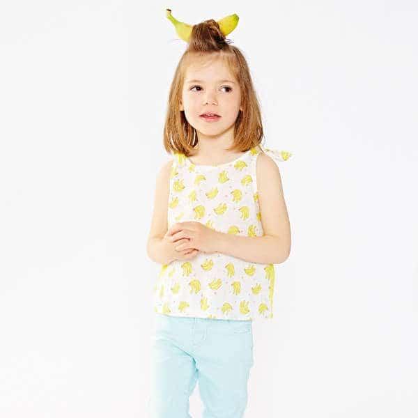 BILLIEBLUSH Girls Yellow Cotton Top with Banana Print
