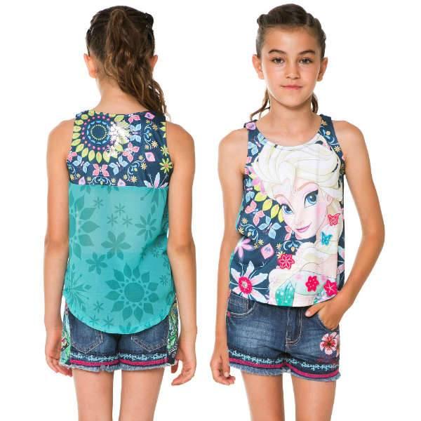 DESIGUAL Girls Cotton Denim Floral Shorts