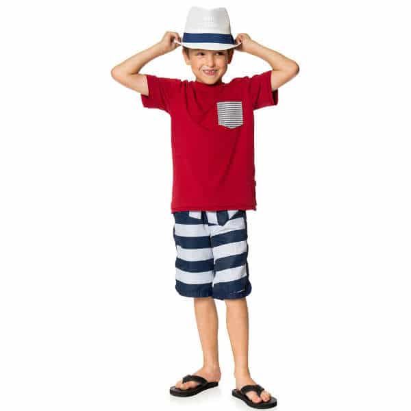 DEUX PAR DEUX Boys Navy Blue Striped Swim Shorts