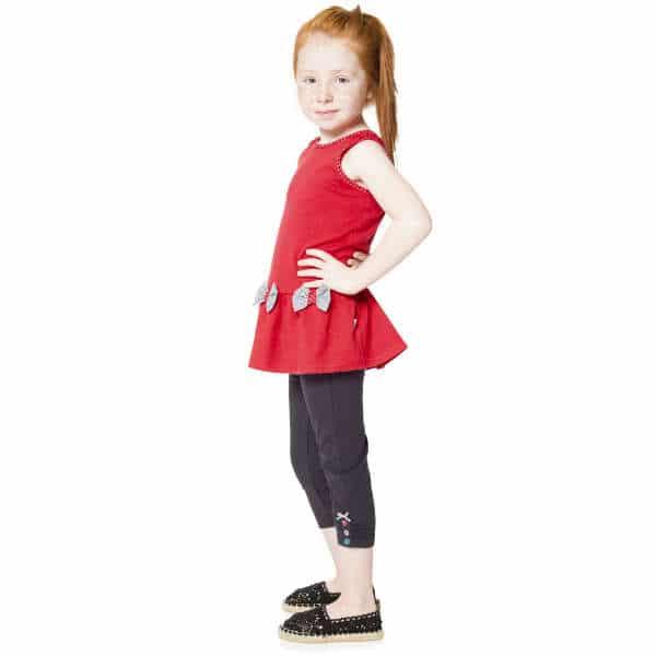 DEUX PAR DEUX Girls Red Tunic Top & Grey Leggings 2 Piece Set