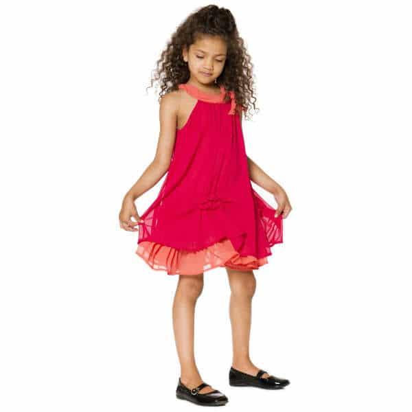 DEUX PAR DEUX Pink & Orange Chiffon Dress