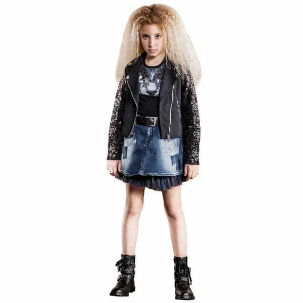 DIESEL Girls Blue Denim Skirt with Swarovski Crystal