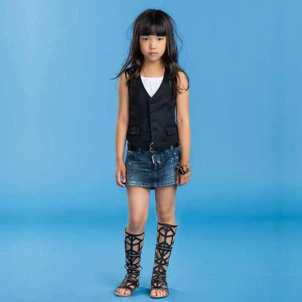 DSQUARED2 Girls Blue Distressed Denim Mini Skirt
