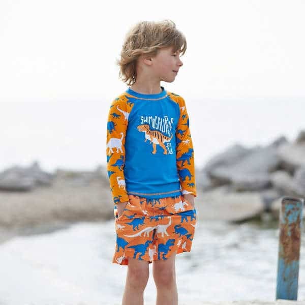 HATLEY Boys Blue & Orange Dinosaurs Top