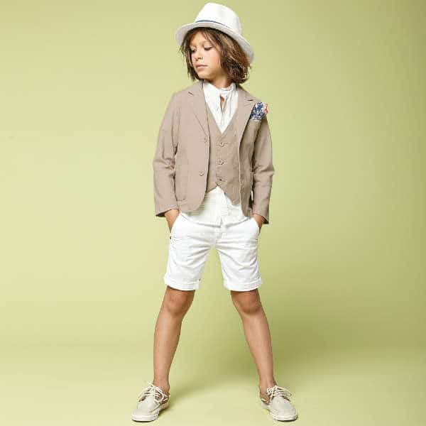 IDO JUNIOR Boys Beige Cotton Canvas Waistcoat