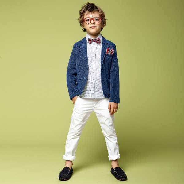 IDO JUNIOR Boys White Blue Dots Cotton Shirt