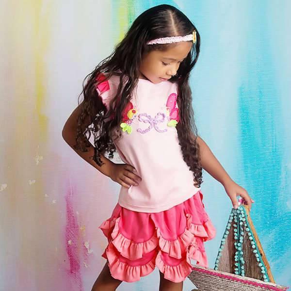 LEMON LOVES LIME Pink Cotton Jersey 'Mermaid' Skort