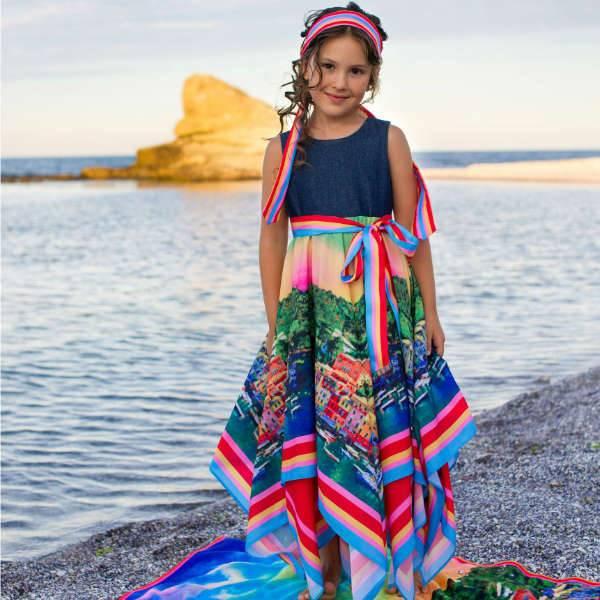 LOVE MADE LOVE Girls Portofino Long Dress with Denim Bodice