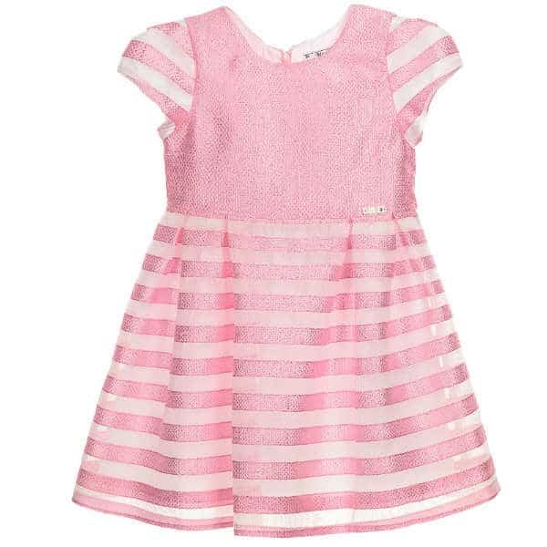 MAYORAL Pink Striped Organza Dress