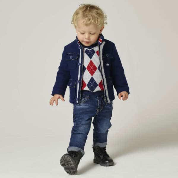 SARABANDA Boys Blue Denim Jeans with Union Jack Pocket