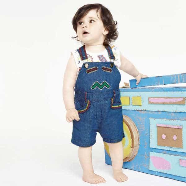 STELLA MCCARTNEY KIDS Baby Girls Organic Cotton Denim 'Chester' Dungarees