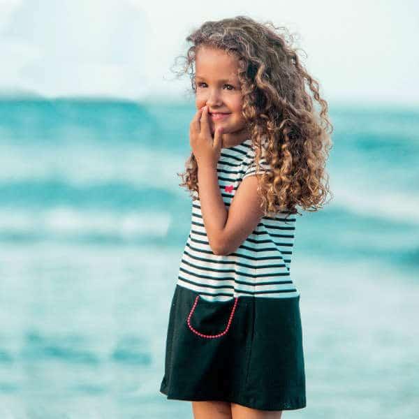 TUTTO PICCOLO Black & White Striped Cotton Jersey Dress