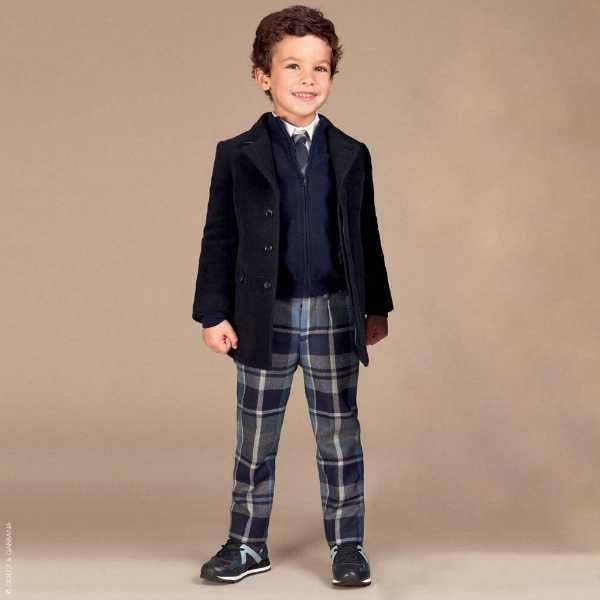 Dolce Gabbana Boys Back to School Blue Check Pants Cashmere Coat
