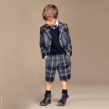 Dolce Gabbana Boys Blue Wool Back to School Jacket