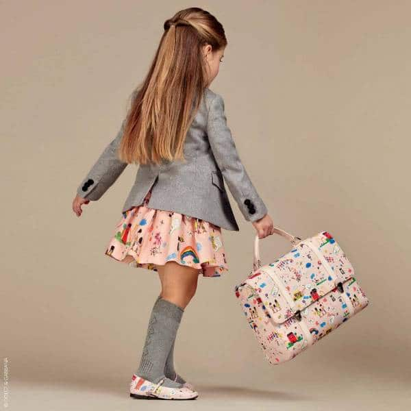 Dolce Gabbana Girls Pink Childrens Illustrated Back to School Print Outfit