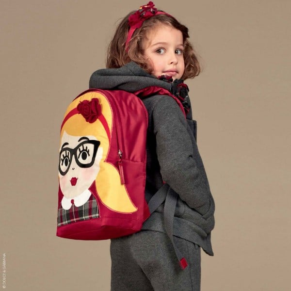 Dolce Gabbana Girls Red DG Family Character Back to School Backpack