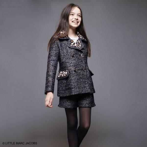 LITTLE MARC JACOBS Girls Bouclé Wool Jacket with Leopard Prin