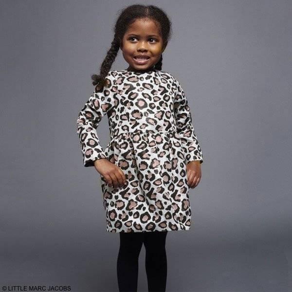 ed4807a46017 LITTLE MARC JACOBS Girls Silver Leopard Print Dress
