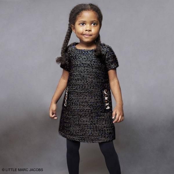 60cd42b4fdd6 Little Marc Jacobs Boucle Wool Dress & Jacket with Leopard Print ...
