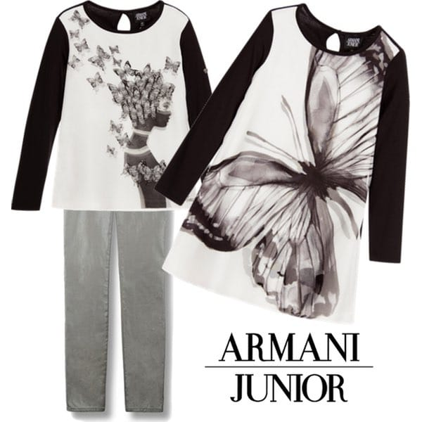 ARMANI JUNIOR Girls Black & Ivory Viscose Butterfly Dress & Butterfly Lady T-shirt