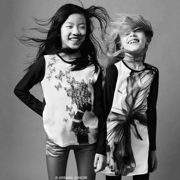 ARMANI JUNIOR Girls Black & Ivory Viscose Butterfly Dress & Butterfly Lady T-shirt